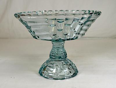 Vintage Jeannette Aqua Blue Glass Floragold Louisa Pedestal Bowl/Compote