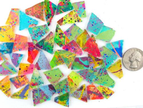100 multicolor CLASSIC GLITZ Mosaic Art Glass tiles by Makena Tile