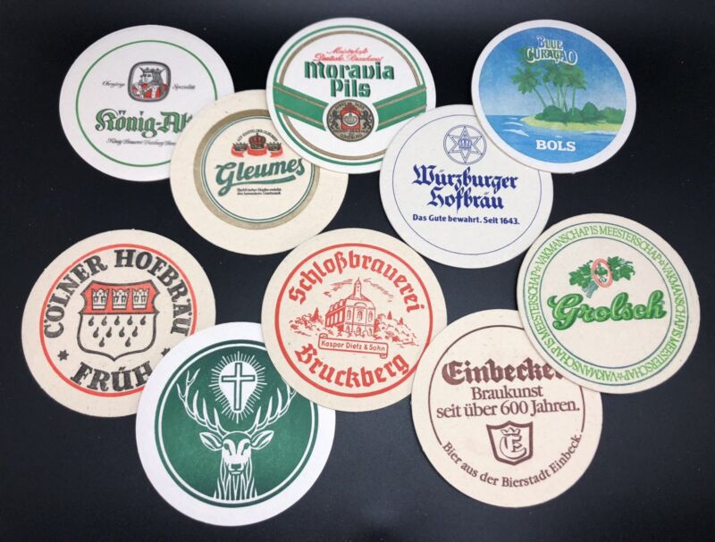 Lot of 10 Collectible GERMAN Brewery Round Coasters (RF909-3)