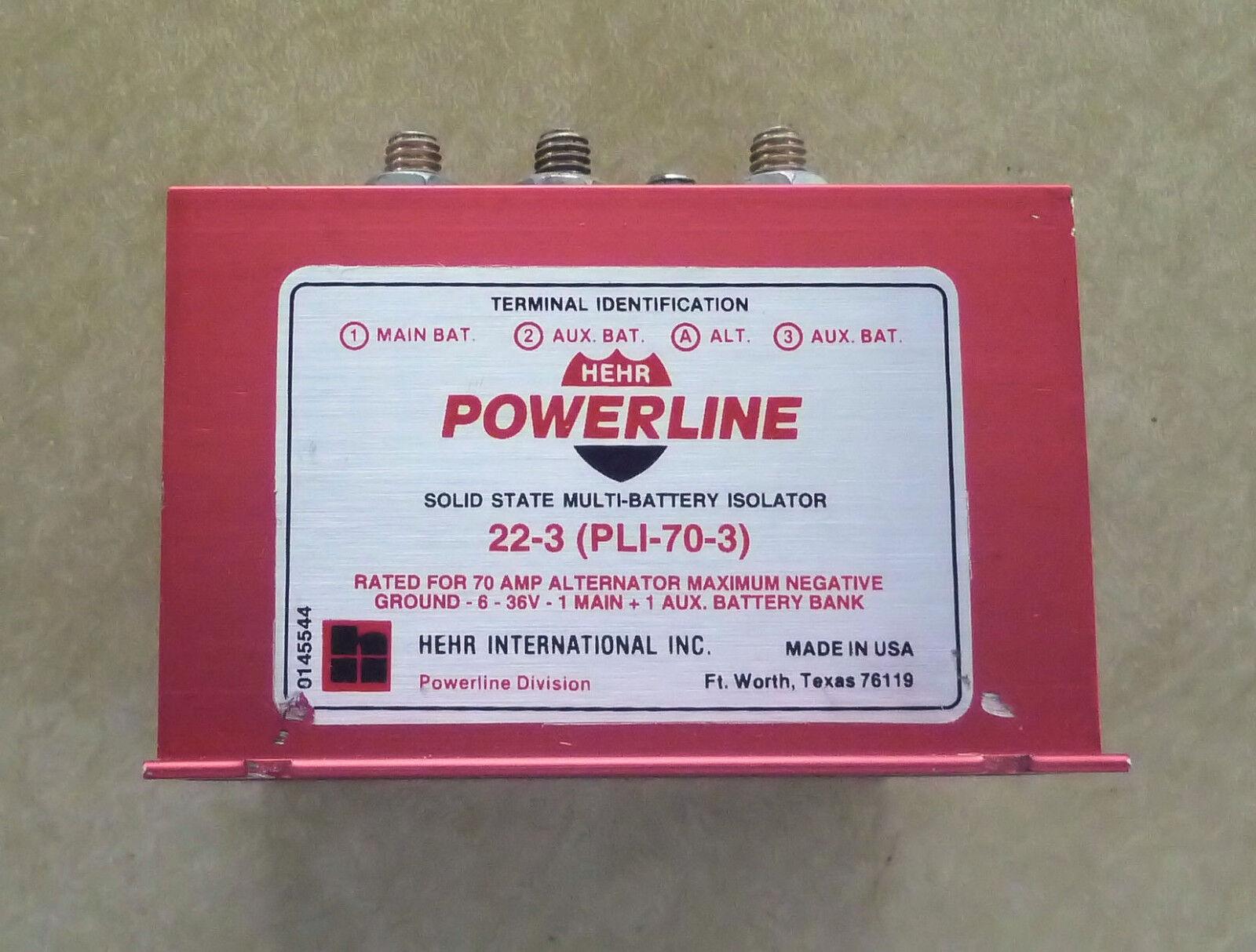 Powerline Battery Isolator PLI-70-3 -- 70 AMP, 1 alternator, 3 batteries -- NOS