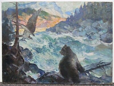 W.V. Chambers Rocky Mountains Western Oil Painting Brandywine Pyle School Artist