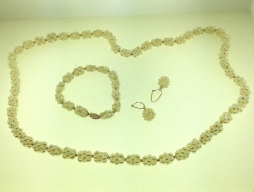 ESTATE CLUSTER PEARLS NECKLACE, BRACELET & EARRINGS SET WITH 14K GOLD FITTINGS