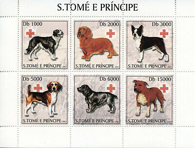 Sao Tome & Principe 2003 MNH Dogs Red Cross 6v M/S Pets Domestic Animals Stamps