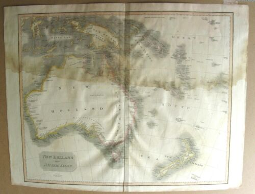 1817 John Thomson Large Antique Map of  New Holland, Australia, New Zealand