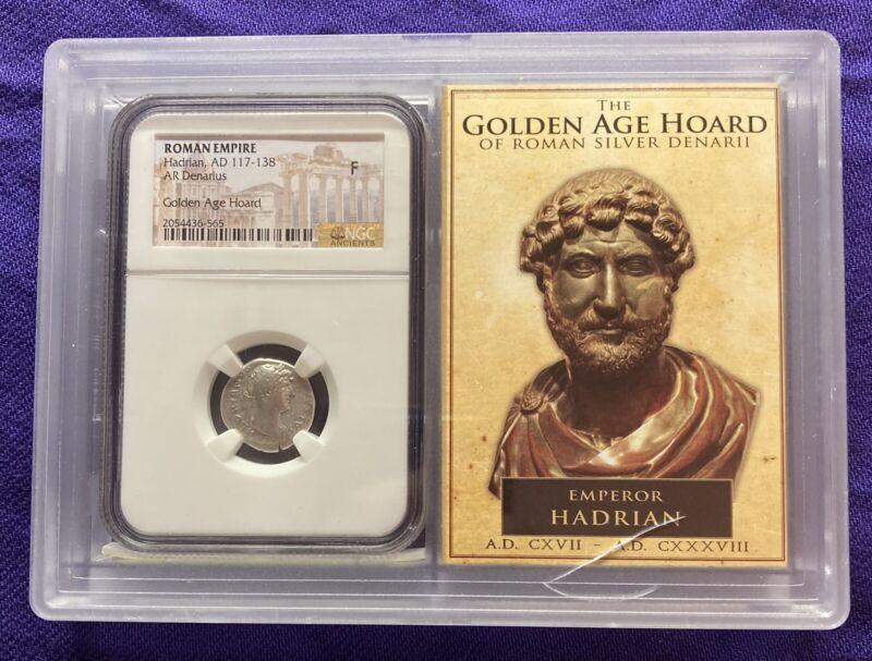 Hadrian (117-138 AD) AR Denarius, NGC F, Golden Age Hoard, Roman Empire