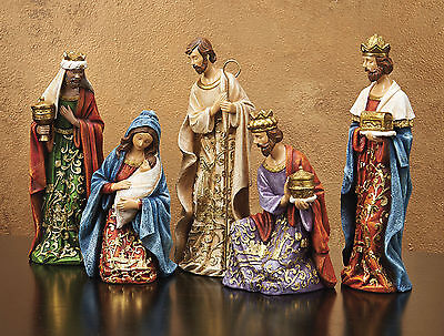 "CHRISTMAS DECORATIONS - ""JOY TO THE WORLD"" 5-PIECE NATIVITY SET"