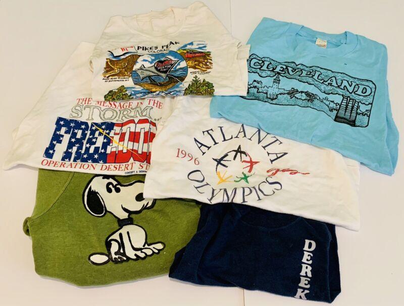 Vtg Kids T Shirt Lot Single Stitch Snoopy Cleveland Hanes Screen Stars Olympics