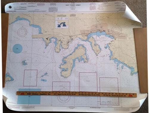 Two NOAA NAUTICAL MAPS West Indies, St. Thomas Harbor and Pillsbury Sound