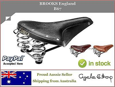 LEATHER BIKE SADDLES - SPRUNG - BROOKS ENGLAND - B67 LEATHER BICYCLE SEAT