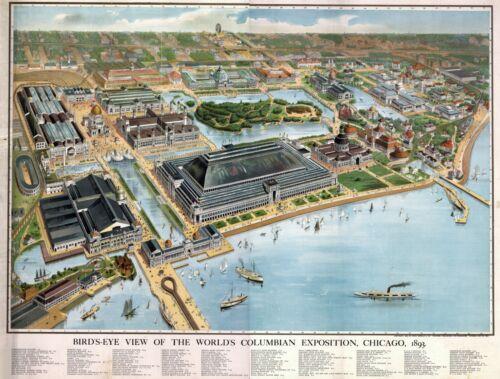 1893 COLUMBIAN EXPOSITION CHICAGO ILLINOIS MAP IL 19