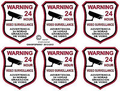 6 Video Surveillance Security Burglar Alarm Decal Warning Sticker Signs