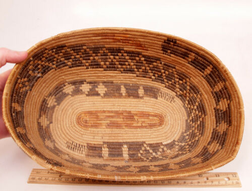 """Palm Springs CA Antique Cahuilla Indian DOUBLE Snakes Mission Basket 13.5""""x9""""x4"""""""