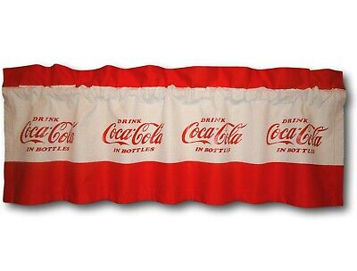 Custom Coca Cola Coke Red Fabric Blackout Valance 14x42 Retro Curtain Soda Sign
