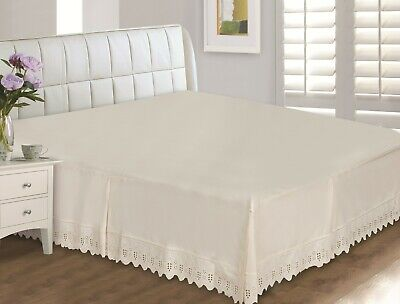 Eyelet Lace Cotton 400 Thread Count Bed Skirt, Wrinkle Free, Super Soft