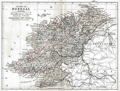 Map of County Donegal, Ireland.