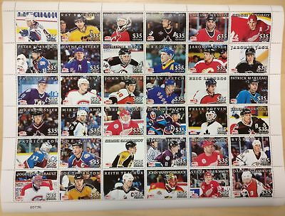 GUYANA FULL SHEET OF ALL STAR HOCKEY PLAYERS - 36 STAMPS MNH - KOIVU - BRODEUR