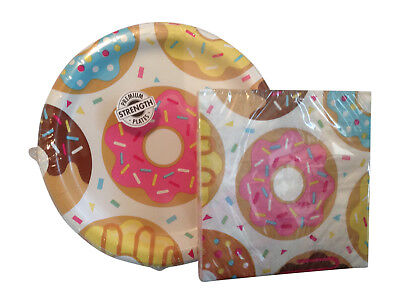 Donut Time Party Paper Plates and Napkins Party Bundle for 16 (Donut Plates)
