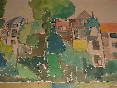 Häuser von Bäumen umgeben Gemälde Expressiver Kubismus Signatur B.K.
