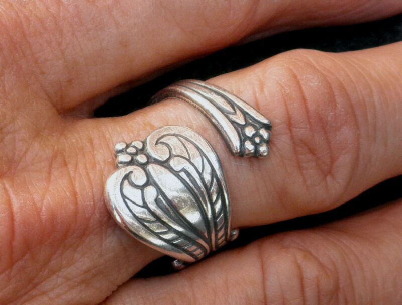 #4223 ANTIQUED STERLING SILVER PLATED ADJUSTABLE SPOON RING