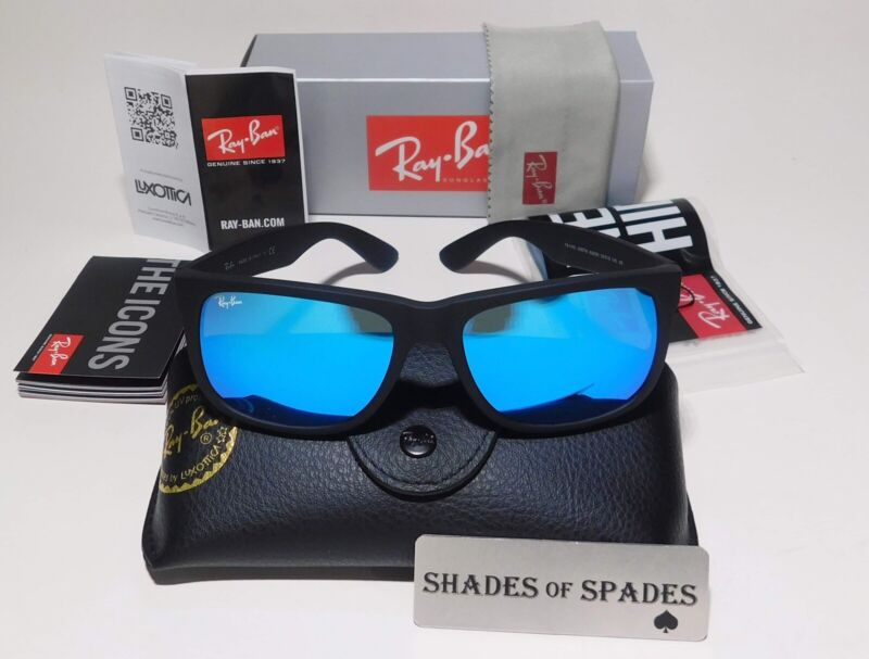 Ray-Ban Justin Classic RB4165 622/55 55MM Matte Black Blue Mirror Sunglasses