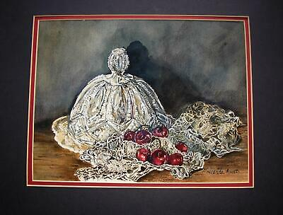 VINTAGE CHERRIES CUT ETCHED GLASS PIE PLATE DOME DOILY WATERCOLOR PAINTING FLAWS ()