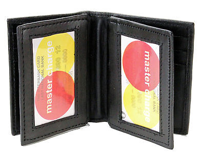New Mens Bifold Genuine Leather ID Holder Mini Wallet Black Window Credit Card
