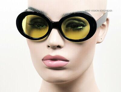 Groß Oval Wolken Sonnenbrille Kurt Cobain Vintage Stil Schwarz / Gelbe Linsen