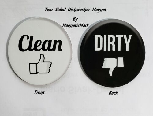 """3"""" Dishwasher- Double Sided Round Dishwasher CLEAN/ DIRTY Premium Magnet."""