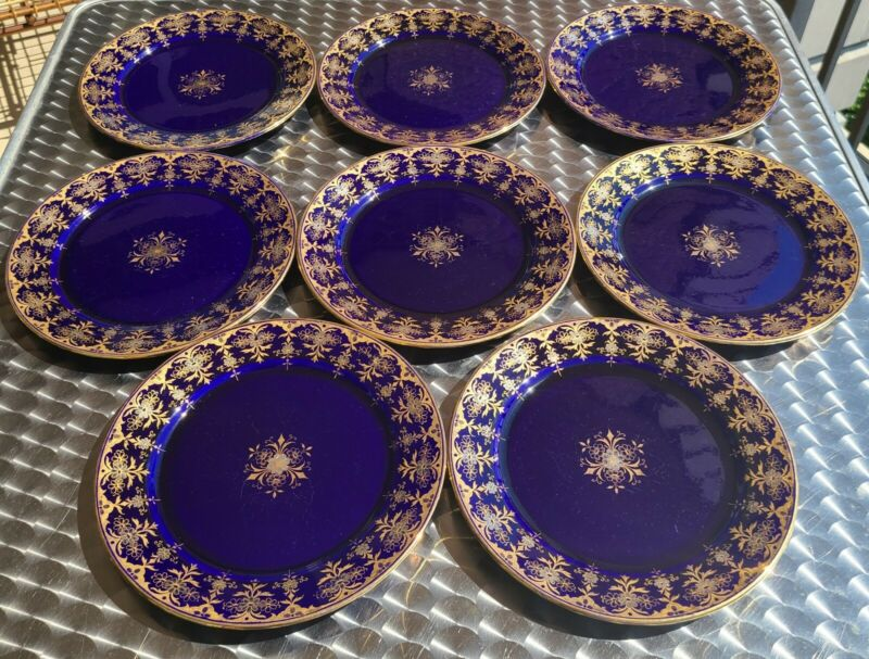 "SET OF 8 ANTIQUE SARREGUEMINES COBALT BLUE 8"" PLATES GOLD GILT FREE SHIPPING"