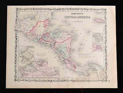 Antique 1861 Map, Johnson's Central America, by Johnson & Browning, Page# 57