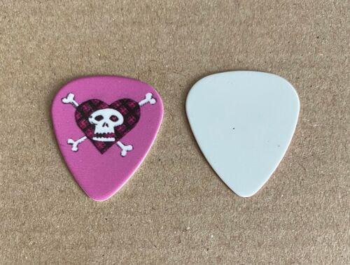 AVRIL LAVIGNE - 2008 Tour Issued Guitar Pick White Blank Back Skull Heart Pink