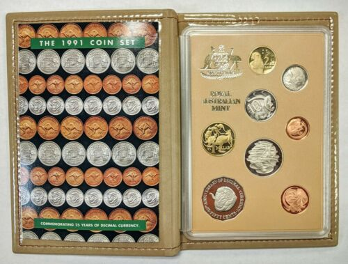 1991 Australia Proof Coin Set 8 Coins Nice Tan Case w/ COA