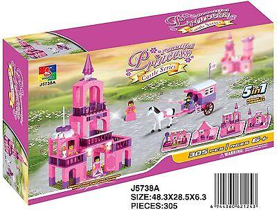 Woma Schloss Princess Pink für Mädchen  5 in 1 Bausteine Set 305 Teile  J5738A (Schloss Für Mädchen)