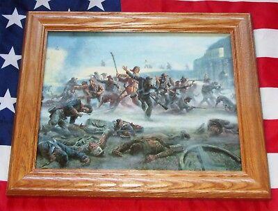 Framed Texas Revolution Painting  Mort Kunstler  The Alamo  Davy Crockett