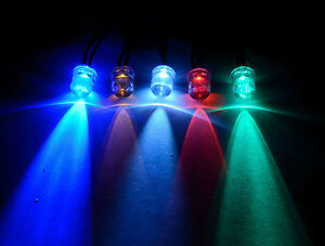 12V Ultra-Bright 3mm 5mm 10mm Prewired LED with Black Bezel Holder All Colours