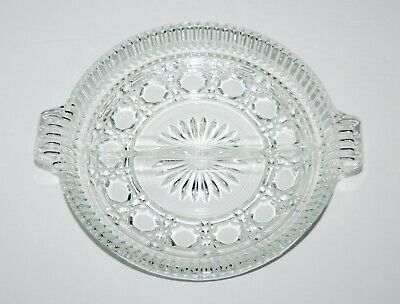 """Vintage Glass Divided Serving Relish Dish Tray Plate, 7.25"""", Round, Patterned"""