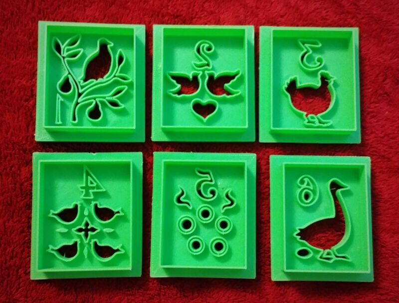 3D Printed Cookie Cutters 12 Days of Christmas Set of 12