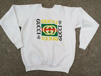 Vintage 90s Fruit Of Loom Men's Bootleg Gucci Crewneck Sweatshirt Size XL