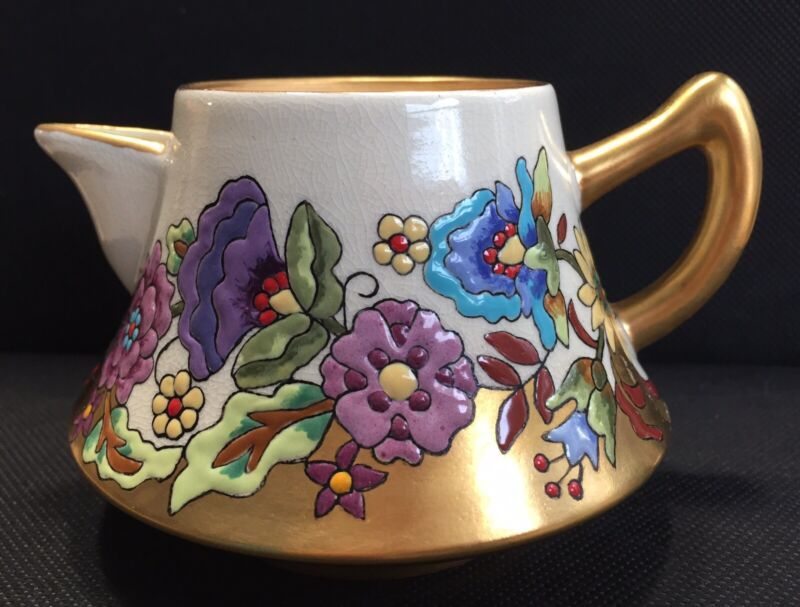 GORGEOUS SIGNED SATSUMA PORCELAIN CREAMER W/HAND PAINTED ENAMEL FLOWERS AND GOLD