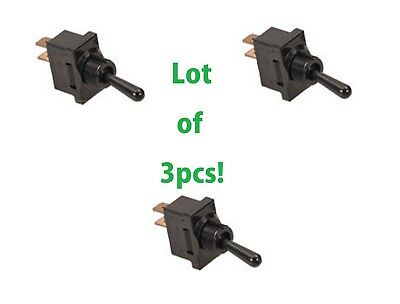 3pc Lot Spst Toggle Switch On-off 2pin 20 Amp 120v 240v Ac Panel Qc Black 20a