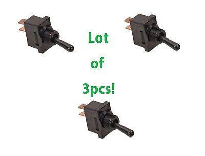 3pc Lot Spst Toggle Switch On-off 2pin 20 Amp 120v 240v Ac Panel Qc Black 20a