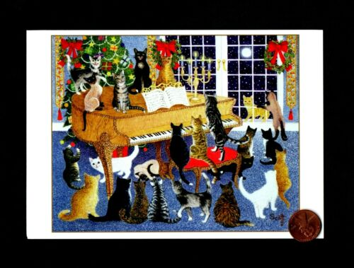 CHRISTMAS Cats Kittens Playing Piano Sing Tree Moon - Greeting Card W/ TRACKING
