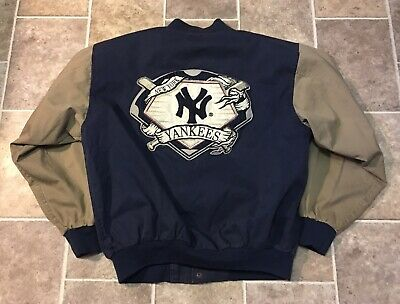90's Vintage Starter New York Yankees Large Patch Snap Button Jacket Size XL