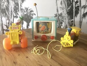Lot of 3 - Vintage 1960s FISHER PRICE Wooden Toys