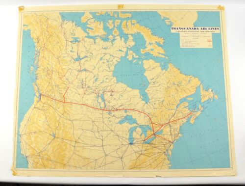 1940 TRANS-CANADA AIR LINES AIR SERICE MAP