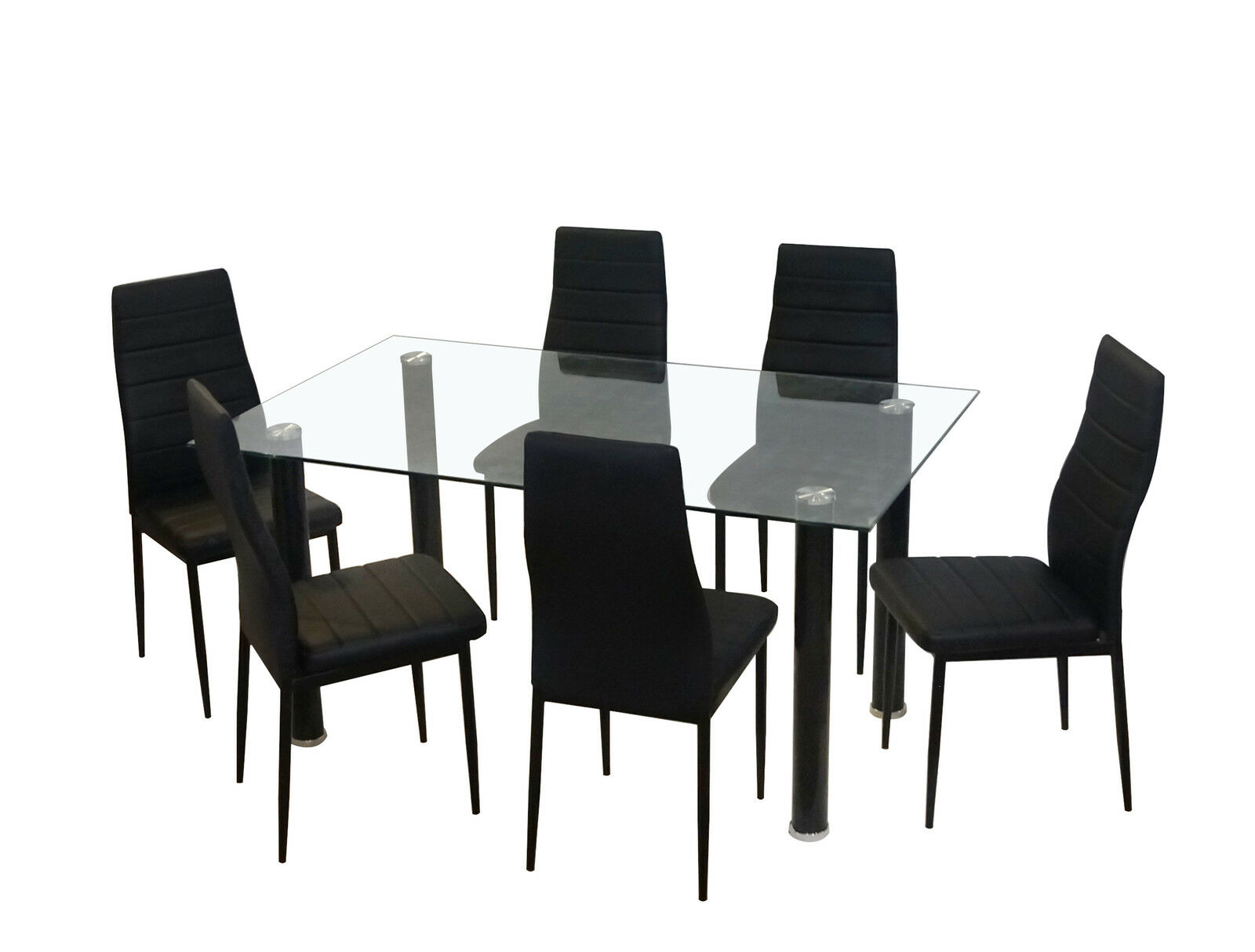NEW GLASS DINING KITCHEN TABLE SET FAUX LEATHER 4/6 CHAIRS