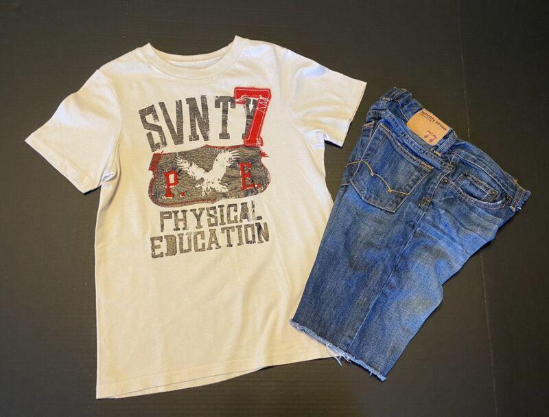 American Eagle 77 Kids Appliqué Tee 7/8 Jean shorts 8 EUC