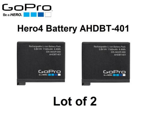 Lot of 2   Genuine Original OEM AHDBT-401 1160mAh 4.4Wh Battery for GoPro HERO 4