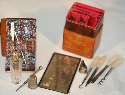 ANTIQUE ETUI c1850 LADIES VICTORIAN complete, Original leather SEWING COMPANION~