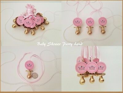Princess Pacifier Necklace Baby Shower Favor 12 GOLD/PINK Its a Girl Decoration](Decorating A Baby Shower)